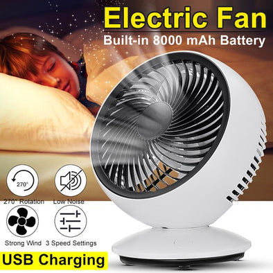 AUGIENB Portable Electric Fans Desk Fans USB Rechargeable Fans ,3-Speed ,270° Automatic Rotation , Six-leaf ,Disassemble For Office Laptop Table Home