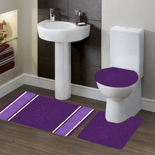 "3-PC (#7) Butterfly Purple HIGH QUALITY Jacquard Bathroom Bath Rug Set Washable Anti Slip Rug 18""x28"", Contour Mat 18""x18"" and Toilet Seat Lid Cover 18""x19"" with Non-Skid Rubber Back"