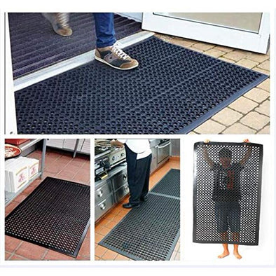 Heavy Duty Large Non-Slip Mat Bar Kitchen Industrial Multi-Functional Anti-Fatigue Drainage Rubber Non-Slip Hexagonal Mat Black 60*90cm