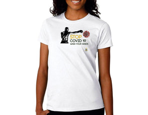Stop Covid 19- Womens T-Shirts -Wash Your Hands