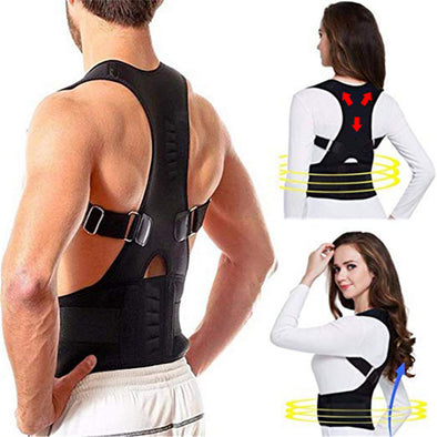 Back Brace Posture Corrector for Women & Men, Neoprene Magnetic Corset Provides Lumbar & Shoulders Support, Solution for Kyphosis & Scoliosis