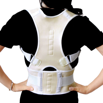 White Fully Adjustable Posture Correction Shoulder Back Pain Support Brace Belt Band