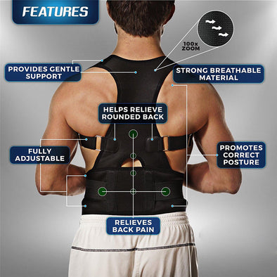 Ship from US Adjustable Back Posture Corrector Support Magnetic Back Shoulder Brace Belt Posture Correction Prevents Slouching