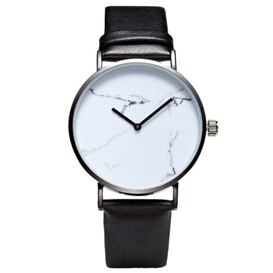 New Brief Saat Marble Dial Women Simple Style Watches Minimal Leather Ladies Watch Minimalist Lady Clock Vintage Wristwatch 2017