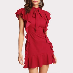 Abelardo Flounce Embellished Cocktail Dress