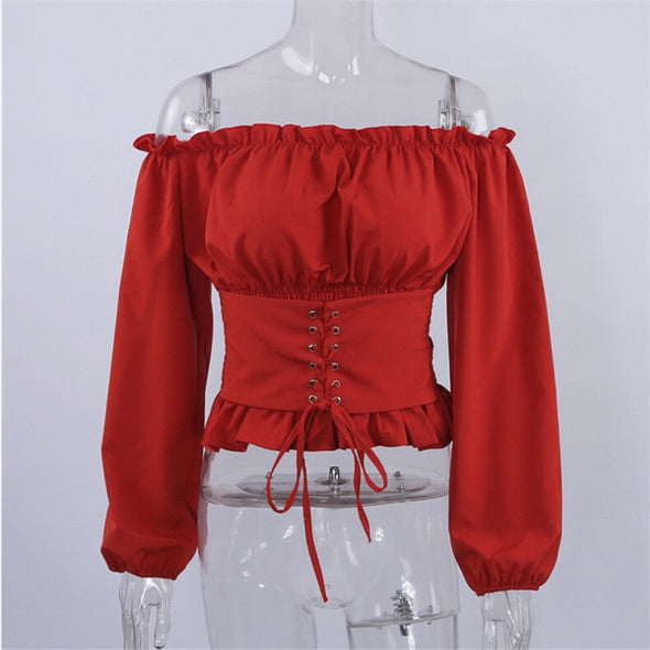 Luana Lace up Satin Corset Blouse