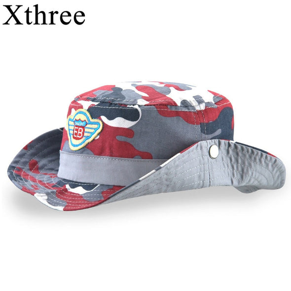 Xthree  New Cotton Summer cap kids camouflage bucket hat cap baby boy cowboy hat casquette garcon sun hat for children