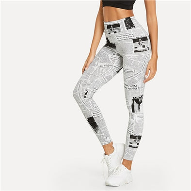 SHEIN Black And White Highstreet Newspaper Letter Print Streetwear Leggings