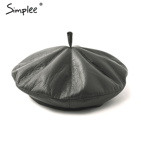 Simplee PU Leather beret hats for women Winter flat cap female boina feminina Fashion autumn winter beret cap painter hat