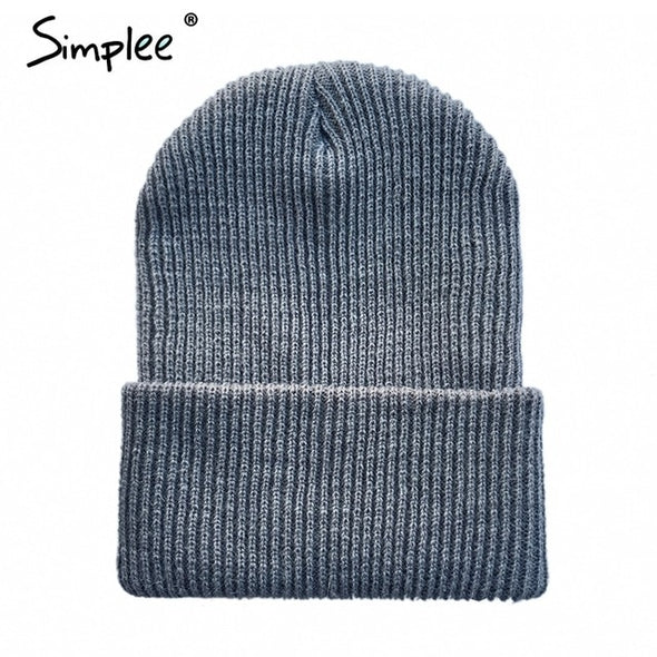 Simplee Knitted winter warm women beanie cap Autumn solid cotton blend ladies skullies fold hat Casual streetwear gorro feminino