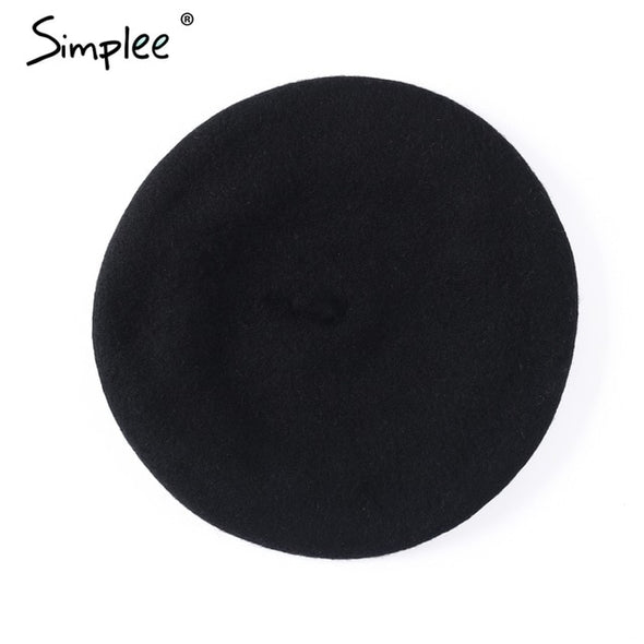 Simplee Winter elegant wool beret Women casual streetwear warm beret hat cap Autumn party club female beret beanie 2018