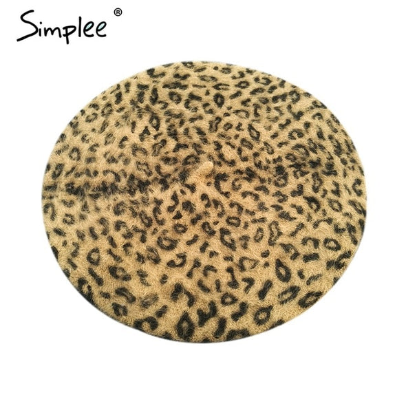Simplee Winter elegant wool leopard beret Women casual streetwear warm beret hat cap Autumn party club female beret beanie 2018