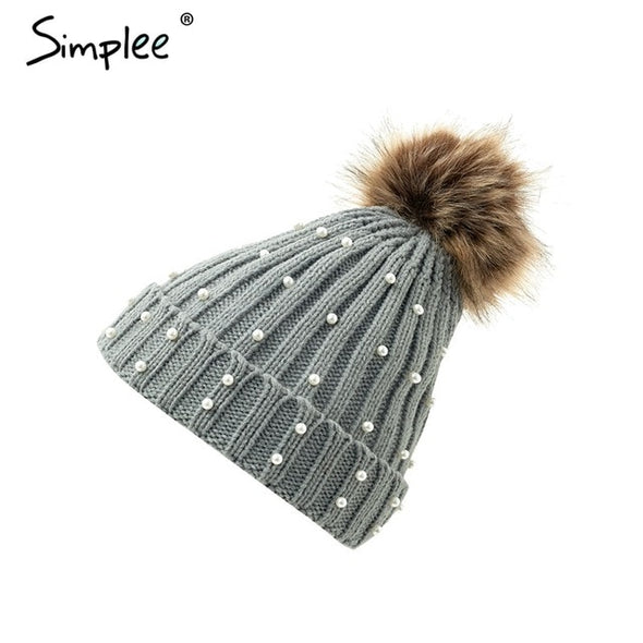 Simplee Elegant fur ball cap pearls pom poms winter skullies hat for women girl 's hat Knitted beanies cap Thick female new cap