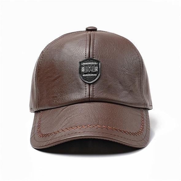 Xthree New winter leather baseball cap snap back hat for men casual Baseball Cap Winter Dad Hat