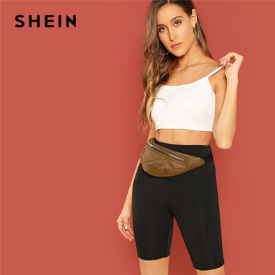 SHEIN Black Casual Solid Crop Wide Waistband Cycling Short Leggings