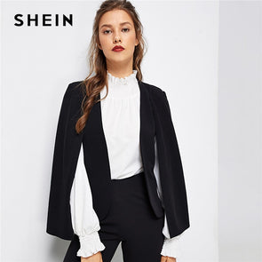 SHEIN Black Poncho Office Lady Streetwear Cloak Open Front Blaze