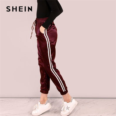 Burgundy Side Striped Satin