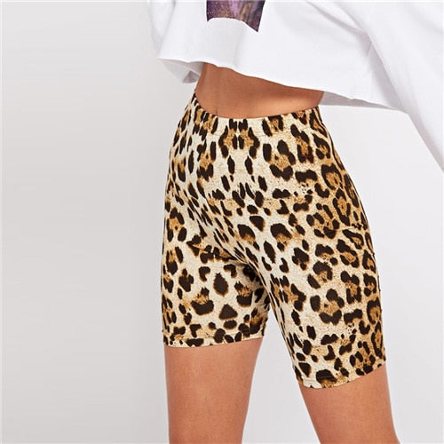 SHEIN Multicolor Casual Highstreet Leopard Print Skinny Short Legging