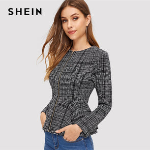 SHEIN Black and White Zip Up Peplum Plaid Jacket Weekend Casual Round Neck