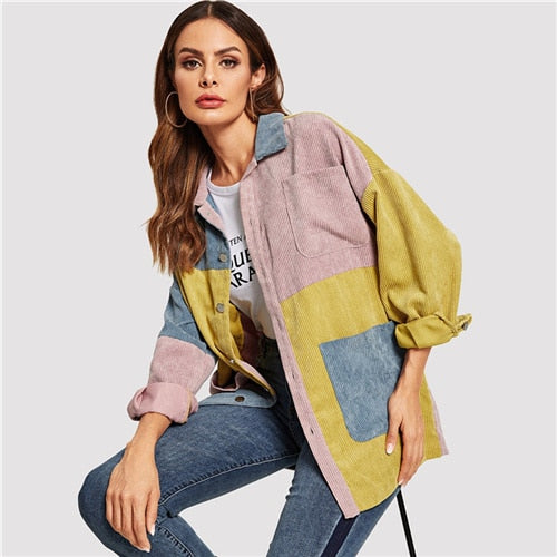 SHEIN Casual Multicolor Cut and Sew Pocket Front Corduroy Single Breasted Coat