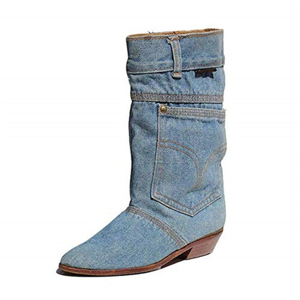 Women Fashion Boots Denim Material Boots Slip-on Mid-calf Bootie