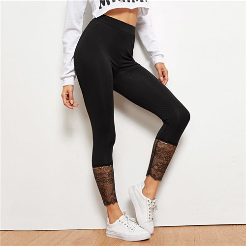 SHEIN Black Lace Contrast Solid Leggings