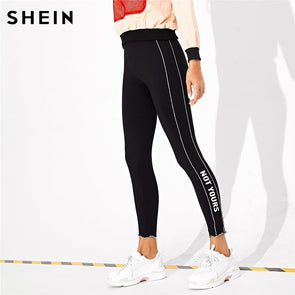 SHEIN Black Casual Solid Plain High Waist Crop Streetwear Leggings
