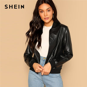 SHEIN Black Zip Up Faux Leather Bomber Jacket Casual Stand Collar