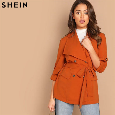 SHEIN Orange Roll Up Sleeve Double Breasted Coat With Belt