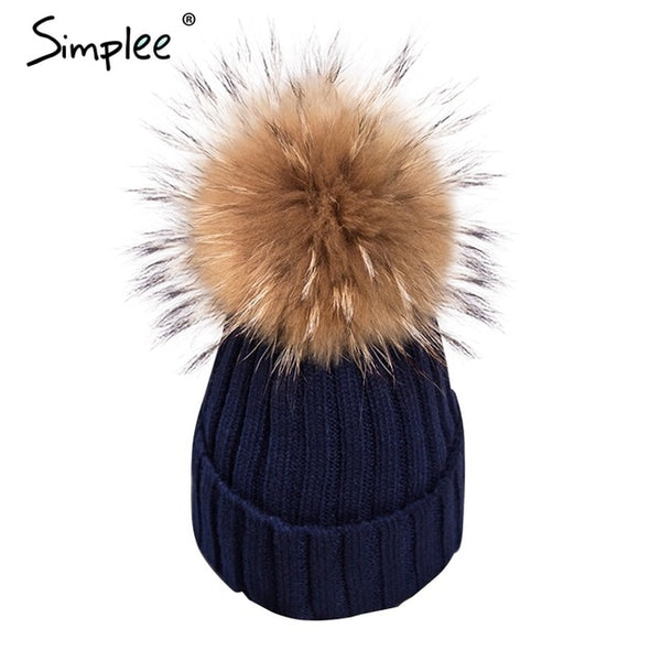 Simplee Removable fur pompon Bobble hats for women skullies beanies Warm stocking hat 2018 autumn cap winter hat female