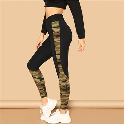 SHEIN Multicolor Wide Waist Camouflage Print Skinny Sporting Leggings