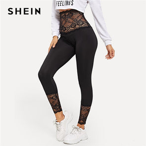 SHEIN Black Solid Contrast Lace Sheer Leggings