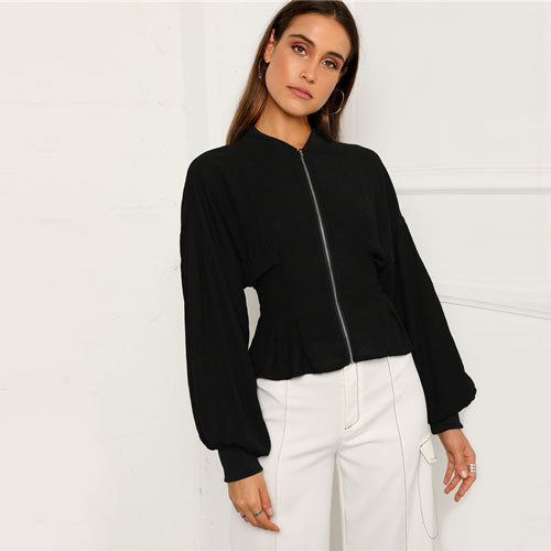 SHEIN Black Zip Up Peplum Lantern Sleeve Solid Zipper