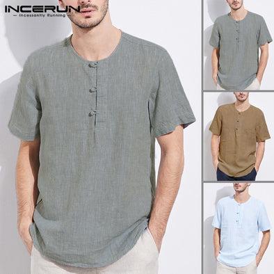 Men Cotton Linen T-Shirt