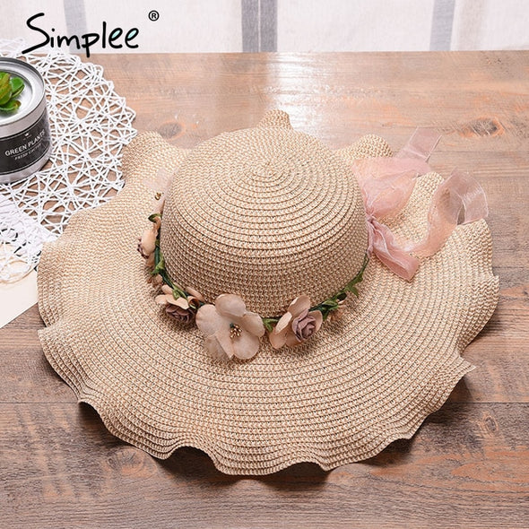 Simplee Summer beach floral bow tie ladies sun hat Female casual panama hat Women wide brim straw hat cap casual holiday linen