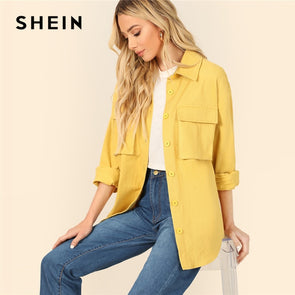 SHEIN Yellow Dual Flap Pocket Front Shirt Plain Jacket