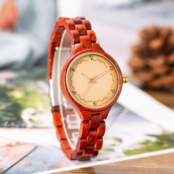 Women Watches Top Brand Luxury Chronograph M19 Rose Sandal Wood Watch Women New Fashion Minimal Dress Wristwatch Female Watches