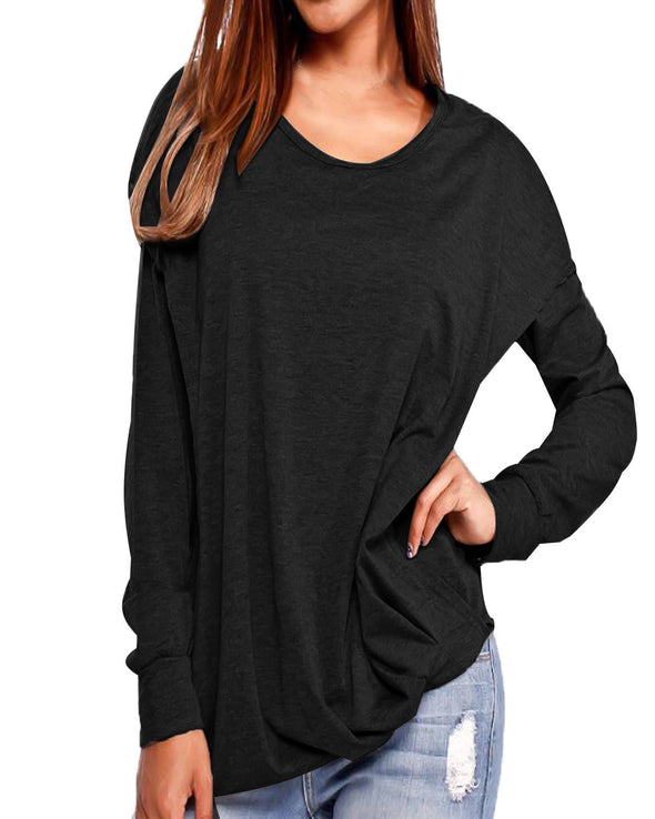 ZANZEA 2019 Spring Women Solid T-Shirts Casual Loose Round Neck Long Sleeve Pullover Hooded Tops Tees With Pockets Plus Size 2xl