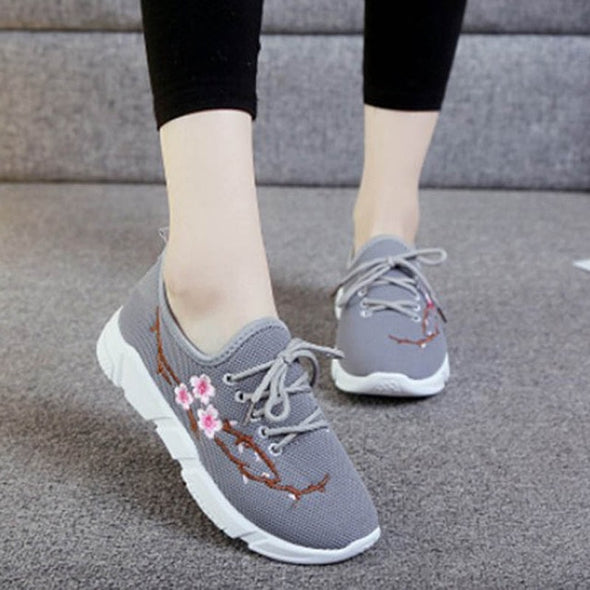 Casual Lace Up Floral Cross-tied Women Shoes