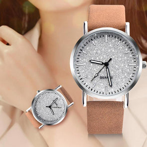 Minimal Analog Leather Round Dial Wristwatch Watch Clock Gift