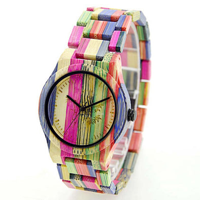 Women`s Wood Watch Colorful bamboo Sandal Wood Watch