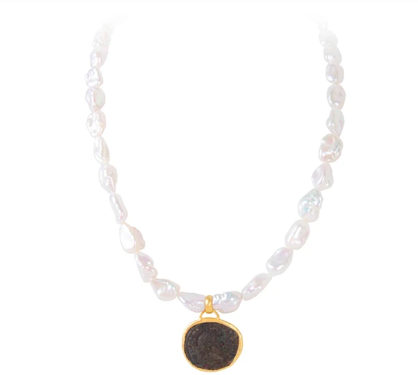 Fairley - ROMAN COIN KESHI PEARL NECKLACE - Gold