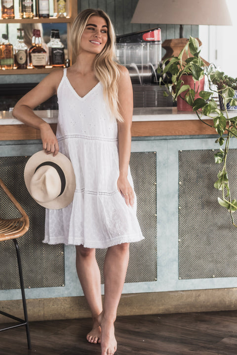 Indigo Desert - Montana Dress - White