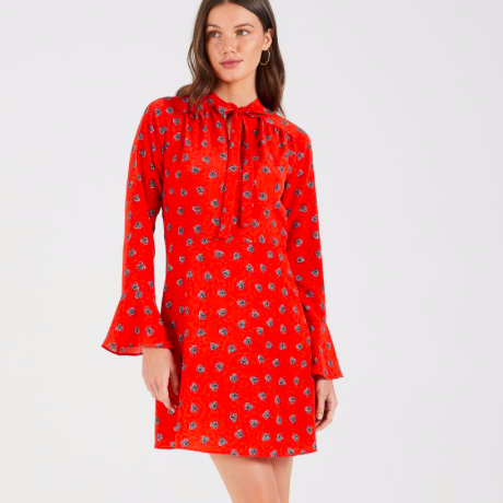 Cooper St - SOPHIA LONG SLEEVE MINI DRESS | RED