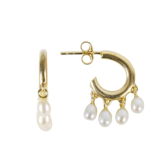 Fairley - Mini Pearl Pom Hoops - Gold