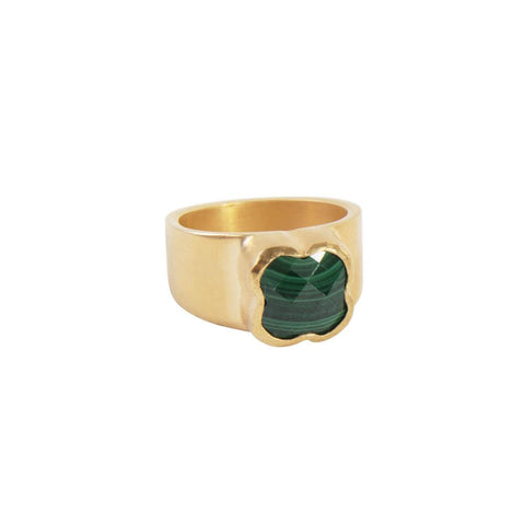Fairley - Malachite Clover Ring - Gold