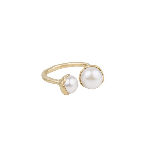 Fairley - Double Pearl Ring - Gold