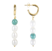 Fairley - Pearl Drops Earring Turquoise - Gold