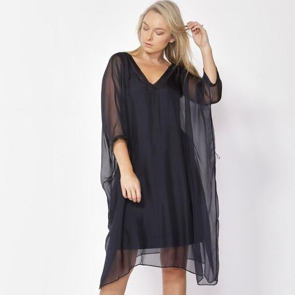 FATE & BECKER - Tell Me A Story Silk Dress - Navy