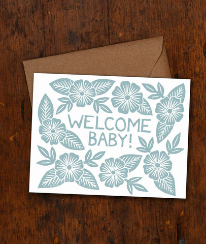 Welcome Baby Block Printed Card
